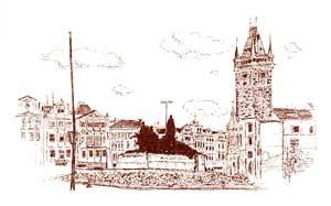 Karel TRINKEWITZ: Husův pomník naStaroměstském náměstí