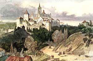 Podobu chrámu sv. Víta předdostavbou zachycuje obraz L. Langeho Pražský hrad zChotkovy silnice zr. 1841