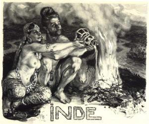 František Kupka: INDIE (štětec, tuš, běloba napapíře). Foto převzato zpublikace Pocta Františku Kupkovi.