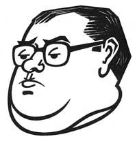 Karikaturu Víti Černého nakreslil Ondřej Suchý začátkem 70.let pročasopis Dikobraz