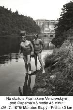 Am Start mit Frantisek Venclovsky unterhalb von Slapy um 08:45 am . 26.07.1975 – Marathon 40 km Slapy-Praha