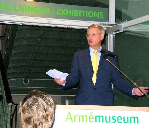 Sveriges utrikesminister Carl Bild vid välkomstalet på Armémuseum.